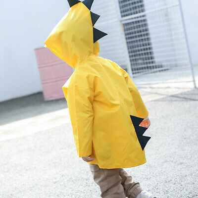 Kids Cartoon Raincoat Waterproof Hooded Jacket Boys Girls Children Rain Coat d8j 2