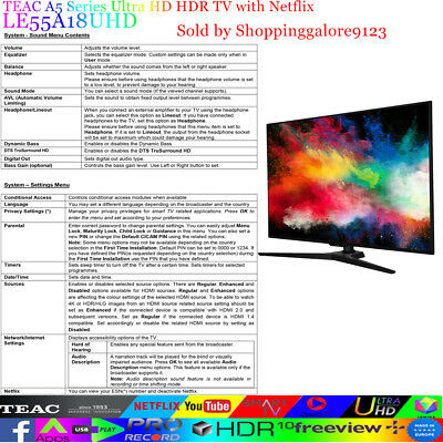 """TEAC 55"""" Inch 4K UHD SMART TV Netflix Youtube HDR Made in Europe 3 Year warranty 10"""