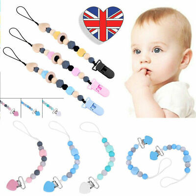 Dummy Clip Holder Baby Pacifier Clips Teething Silicone Beads Soother Chains UK 5