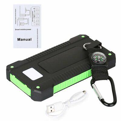 Solar Waterproof 500000mAh Power Bank 2 USB LED External Battery Fr Mobile Phone 8
