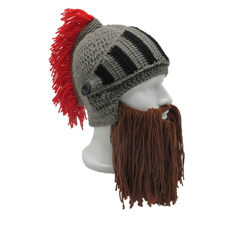 ROMAN HELMET BARBARIAN Knight Thermal Knit Beard Ski Mask With Winter Hat  Funny