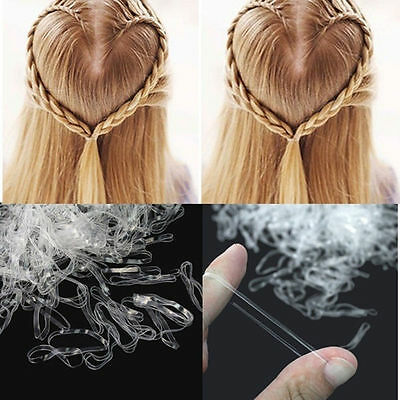 500PCS Clear Ponytail Holder Elastic Rubber Band Hair Ties Ropes Rings 3
