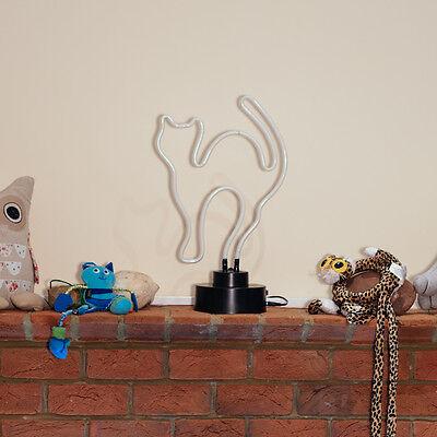 Neon Bar Pub Light Sign Table Lamp 3D SculptureTall Purple Kitty Cat UK STOCKIST 5