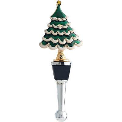 100% Genuine! Jolly Metal Wine Bottle Stopper with Rhinestones Christmas Tree! 2