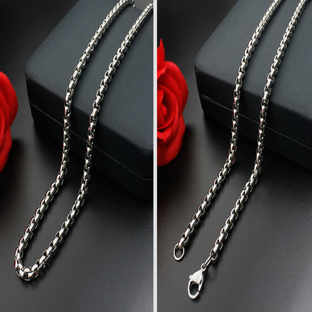Man Women 316L Stainless Steel 2mm/3mm/4mm/5mm Silver Round Box Chain Necklace 5