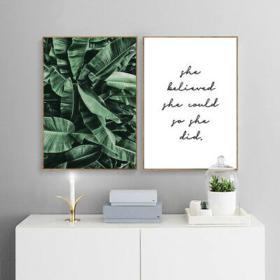 Banana Leaves Canvas Painting Wall Art Poster Quotes Nordic Print Home Decor 3