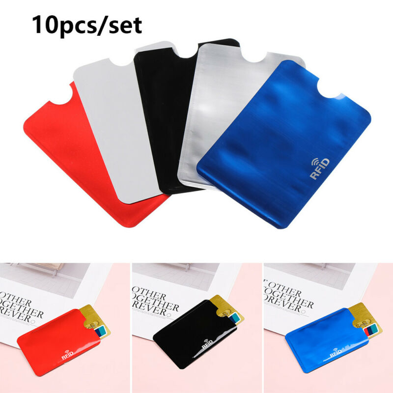 10pcs RFID Credit Card Protector Anti Theft Blocking Card Holder Skin Case Cover 2