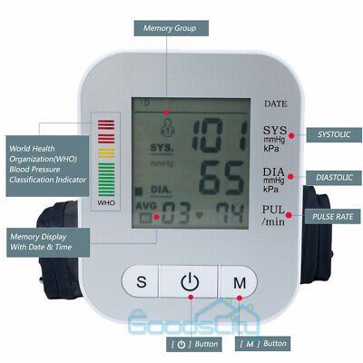 Digital Upper Arm Blood Pressure Monitor LCD Screen Heart Rate w/ Voice Talking 3