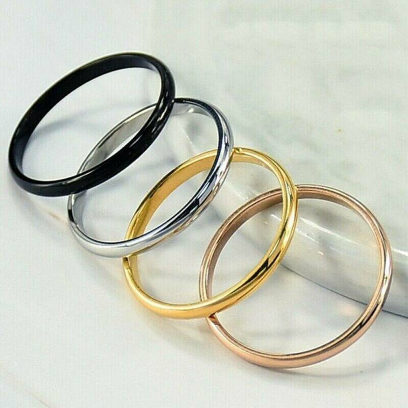 2mm Thin Stackable Ring Stainless Steel Plain Band for Women Girl Size 6-9 1PC 4