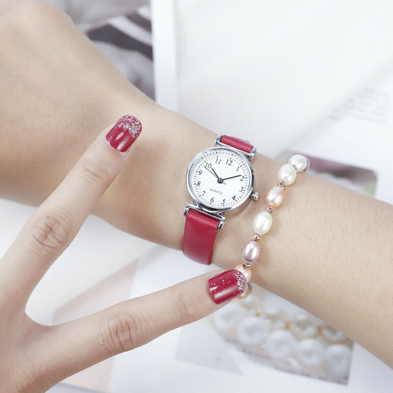 Women's Casual Quartz Leather Band Strap Watch Round Analog Wrist Watch Watches 7