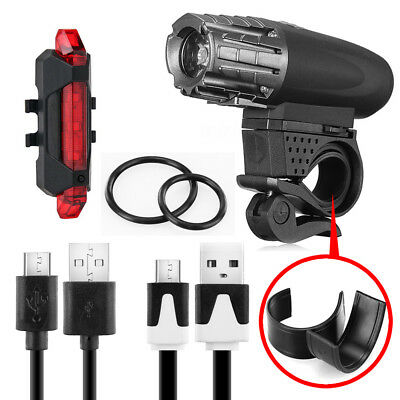 Rechargeable LED Bike Bicycle Light USB Waterproof Cycle Front Back Headlight 12