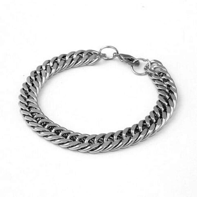 Men's Stainless Steel Silver Chain Link Bracelet Wristband Bangle Jewelry Punk 3