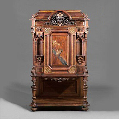 American Renaissance Carved, Parcel Gilt and Gilt-Incised Rosewood Cabinet #7777 2