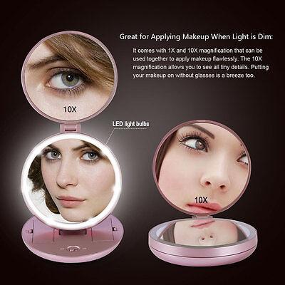 Mini Falten Reise Makeup Kosmetik Spiegel 10X Vergrößerung LED Eitelkeit Spiegel