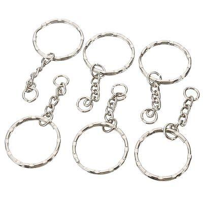 200Pc DIY 25mm Polished Silver Keyring Keychain Split Ring Short Chain Key Rings 5