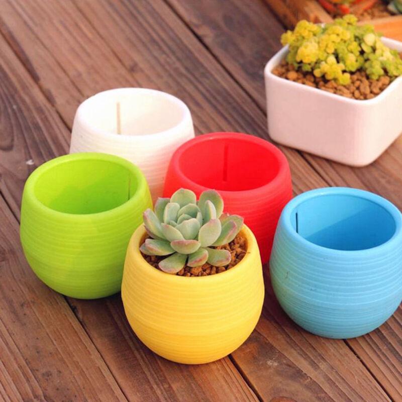 Cute Mini Plastic Flower Pot Succulent Plant Flowerpot Fr Home Office Room Decor 8
