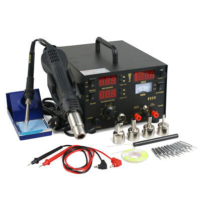 3 in 1 853d SMD DC Power Supply Hot Air Iron Gun Rework Soldering Station 700W 2