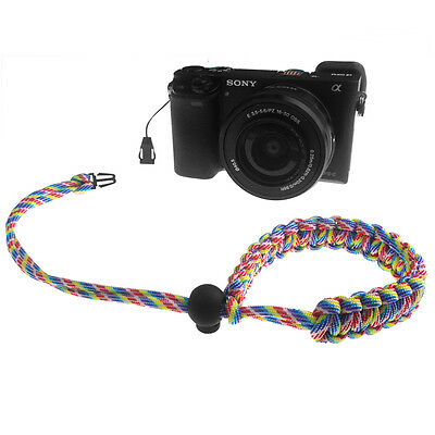 Rainbow Quick Release Braided 550 Paracord Adjustable Camera Wrist Strap 2