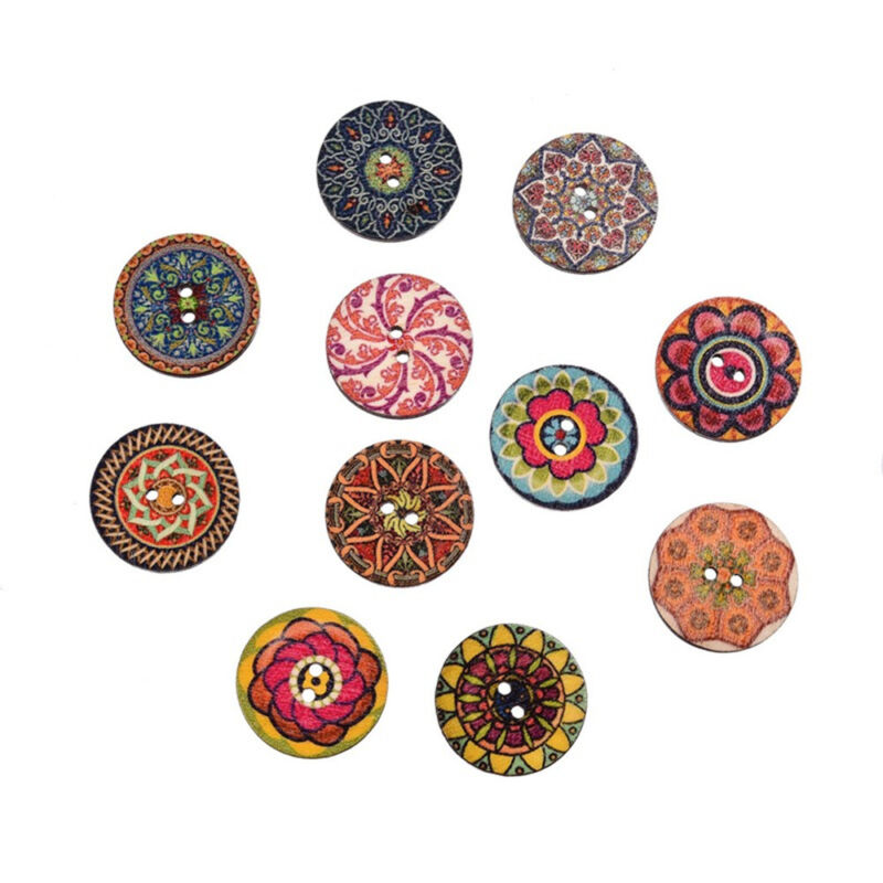 50Pcs/lot Flower Picture Wood Button 2 Holes Mixed Color Apparel Sewing DIY Gift 7