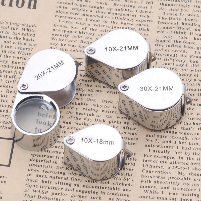 4sizes Triplet Jeweler Eye Loupe Magnifier Magnifying Glass Jewelry Diamond+Box 5