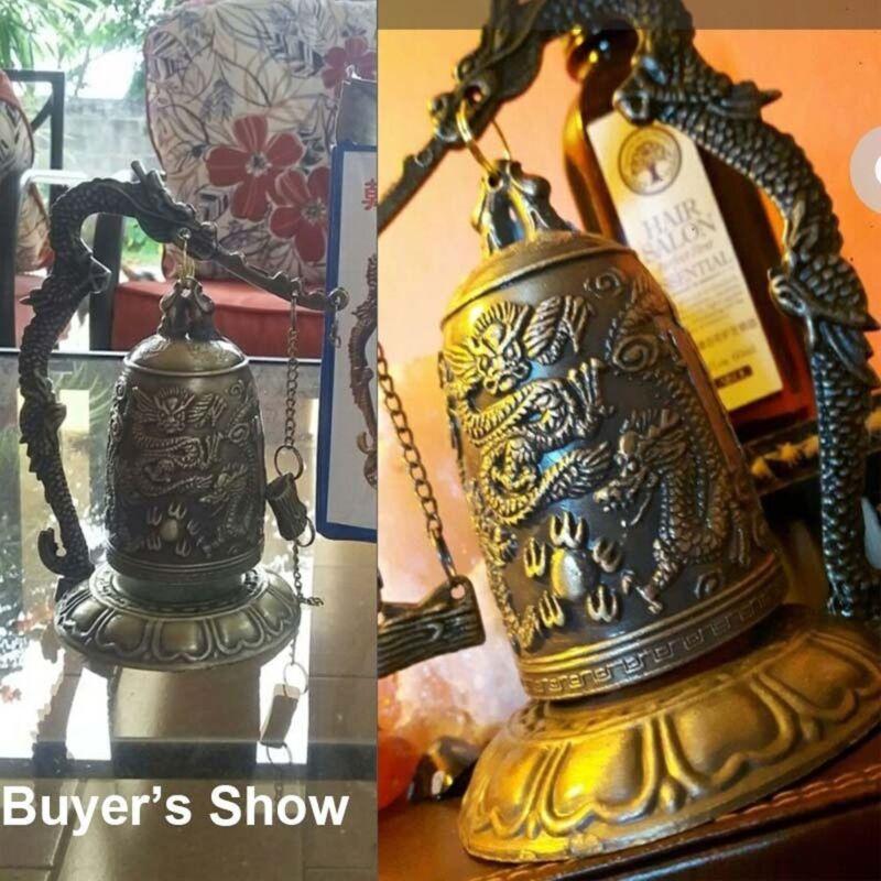 Dragon Bell Hang Decoration Buddhist Bell Good Luck Bell Bronze Lock 5
