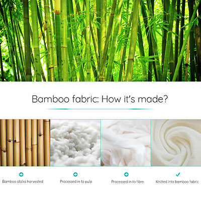 2x High Density Memory Foam Bamboo Fabric Fibre Cover Standard Pillow 65 x 40cm