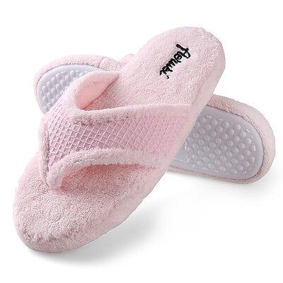 a795181cc29 ... Women Plush Fuzzy Thong Spa Slippers Cozy Flip Flops House Shoes Size 6  7 8 9