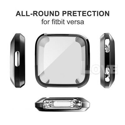 Soft TPU Silicone Shell Frame Full Case Cover Screen Protector for Fitbit Versa 9