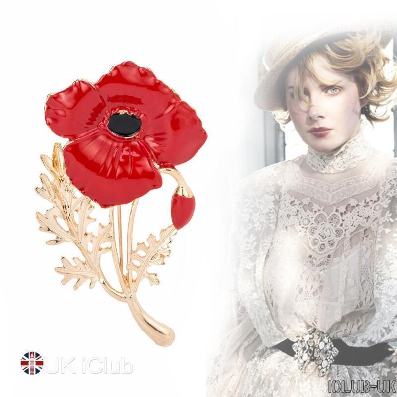 Cristal coquelicot badge broche rouge émail Badges Pin dames Vintage militaire