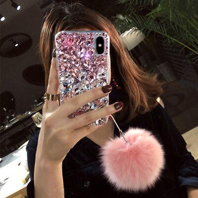 ec9c2a5d984 ... of 10FREE Shipping 3D Luxury Fur ball pendant bling diamonds crystal  rhinestone phone case cover H6 8