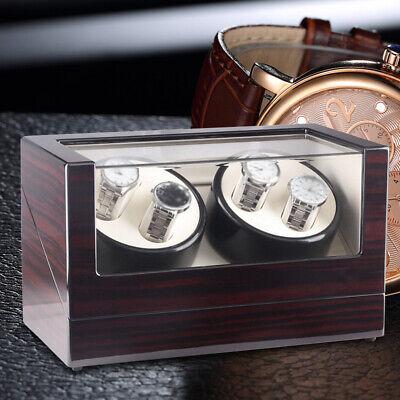 Lusso! 4+0 Watch Winder Box Orologio Automatico Scatola in legno EU Carica DHL 3
