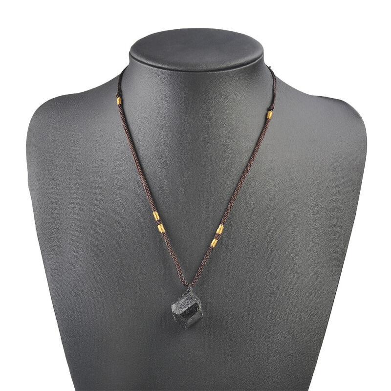 Men Black Tourmaline Stone Natural Crystal Gem Specimen Pendant Necklace JT 10