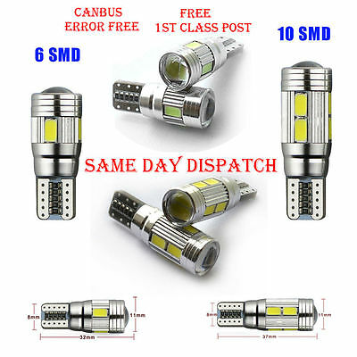 T10 501 W5W Car Side Light Bulbs Error Free Canbus 6 & 10Smd Led Xenon Hid White 2