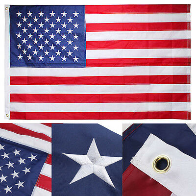 3x5 Ft Nylon American USA US Flag Sewn Stripes EMBROIDERED Stars Brass Grommets 2