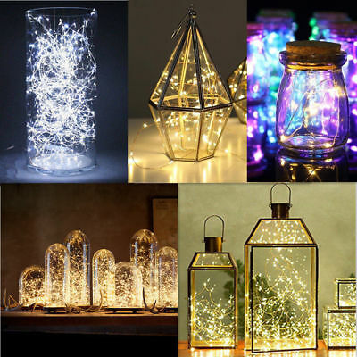 20/50/100 LEDs Battery Operated Mini LED Copper Wire String Fairy Lights 10M 2