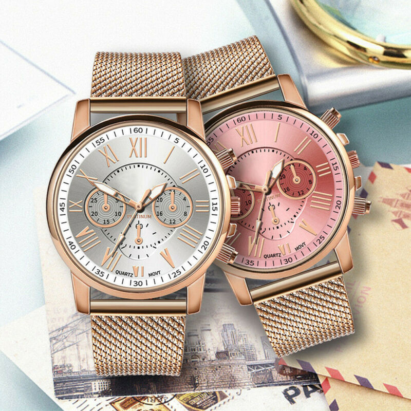New Women Watch Stainless Steel Analog Quartz Dress Bracelet Wrist Watch JP 3