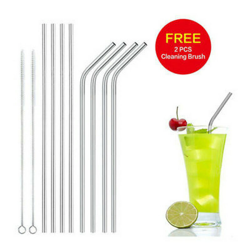 10pc Reusable Drinking Straw Stainless Steel Metal Straws Wide Straw Smoothies 7
