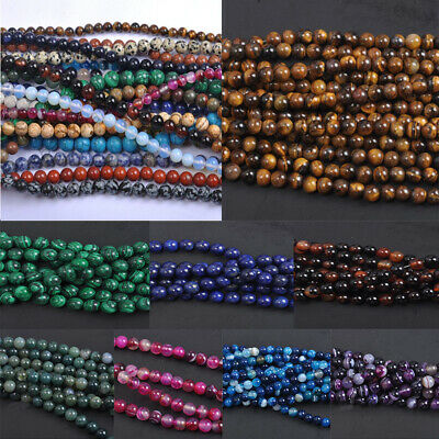 Wholesale Natural Gemstone Amethyst Lapis Round Loose Beads Pick 4/6/8/10MM 3