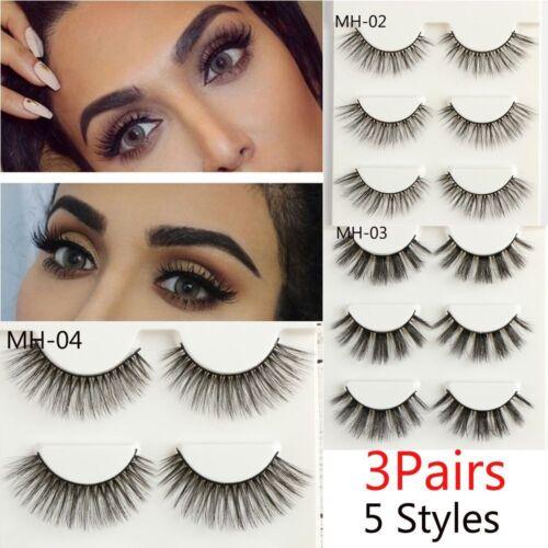 3 Paire SKONHED Mink Cheveux Faux Cils Extension Épais CrossLong Cils Cils