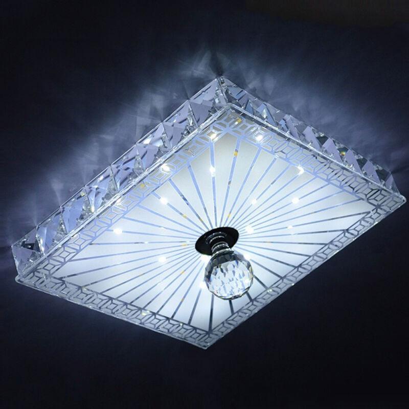 Modern Crystal Led Flush Ceiling Light Fixture Lighting Chandelier Square 12w