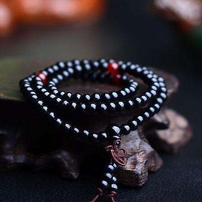 Sandalo Buddista Meditazione 6mm 108Preghier Perlina Mala Bracciale/Collana *SP 7