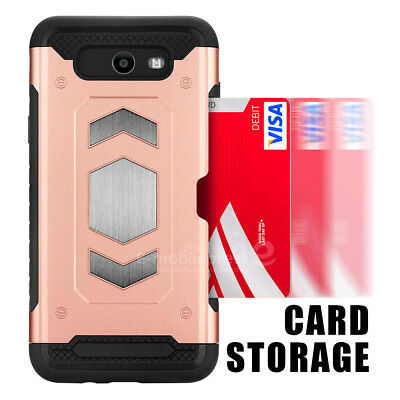 For Samsung Galaxy J7 Prime 2017 Sky Pro Hybrid ShockProof Rugged CardCase Cover 3