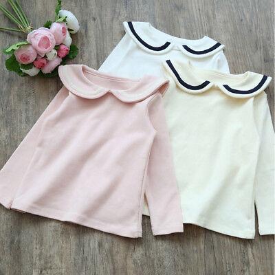 Toddler Girls' Peter Pan Collar Polo Shirt Blouse Long Sleeve T-shirts 2 to 7
