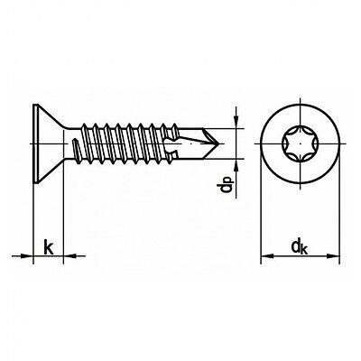 250x DIN 7504 Bohrschrauben-Blechgewinde 6.3 x 70 verzinkt Stahl galv TORX®