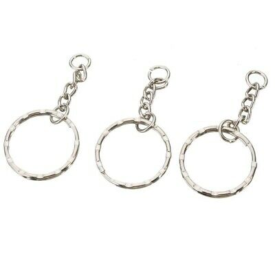 25 PCS Keyring Blanks Silver Tone Key Chains Findings Split Rings 4 Link 4