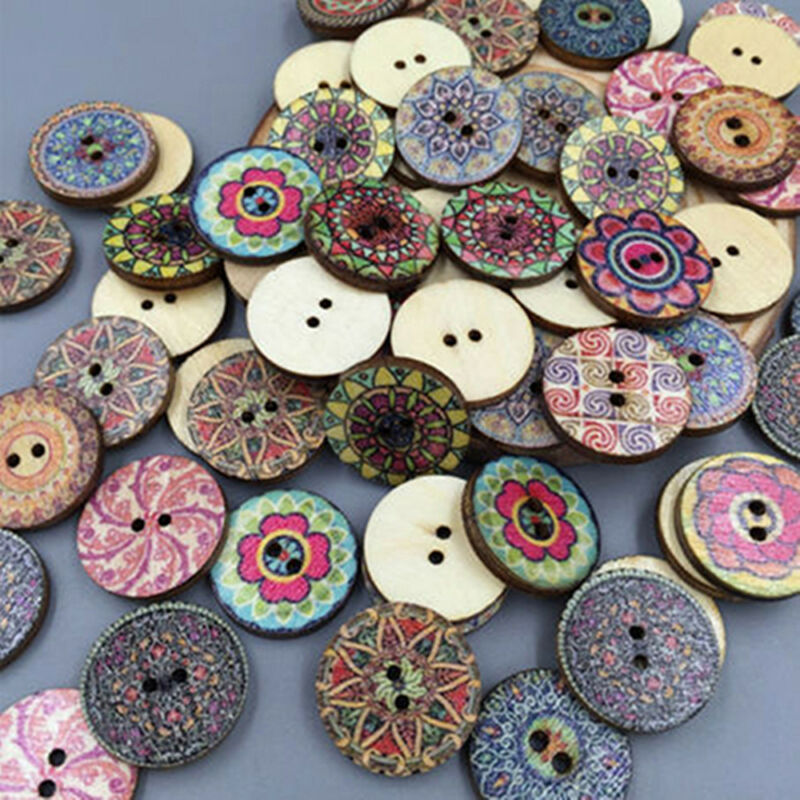 50Pcs/lot Flower Picture Wood Button 2 Holes Mixed Color Apparel Sewing DIY Gift 4