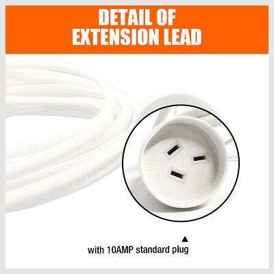 2M/3M/5M/10M Power Extension Lead Standard Australian 240V 3-Pin Plug Cord White 7