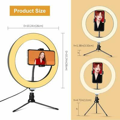 """10"""" LED Ring Light with Stand for Youtube Tiktok Makeup Video Live Phone Selfie 5"""
