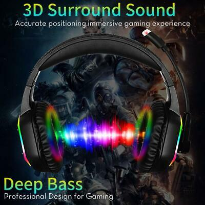 3.5mm Gaming Headset MIC LED Headphones for PC SW Laptop PS4 Slim Xbox One X S 2