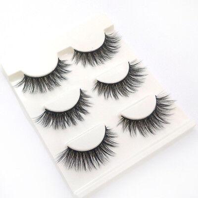 3 Pairs 100% Real 3D Mink Makeup Cross False Eyelashes Eye Lashes Handmade 6